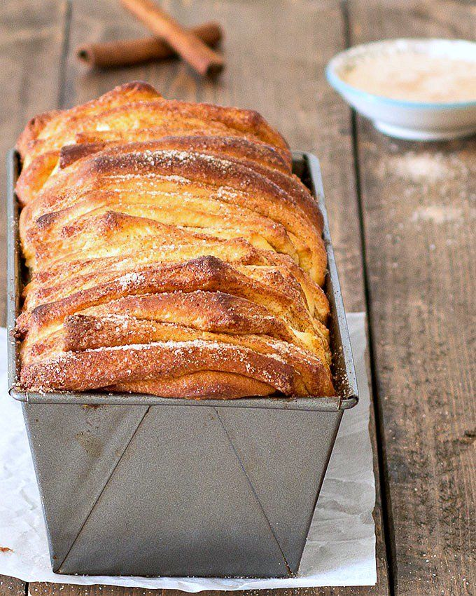 Easy Cinnamon Sugar Pull- Apart Bread This easy cinnamon sugar pull-apart bread is soft and fluffy on the inside, golden-brown and crunchy on the outside. Perfect for breakfast or as a snack.