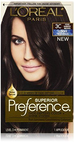 L Oreal Superior Preference Hair Color 3c Darkest Brown Pack Of