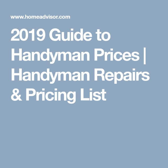 2019 Guide to Handyman Prices | Handyman Repairs & Pricing