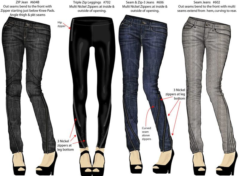 zipper jeans designs by maurice malone | 도식화 | Pinterest ...