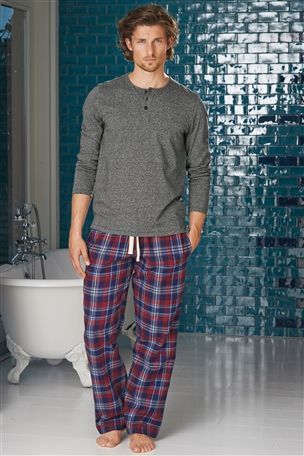 Buy Blue And Red Check Woven Long Bottoms Set from the Next UK online shop a0aacf6d3
