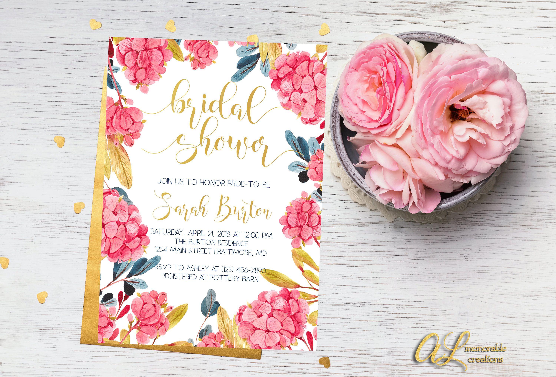 hydrangea bridal shower invitation floral bridal shower invitation