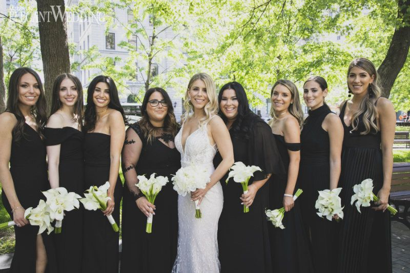 Dazzling Black White Gold Wedding Black Bridesmaid Dress