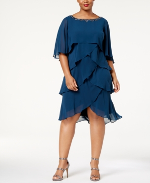 Fashions Womens Plus-Size Jewel-Neck Dress S.L
