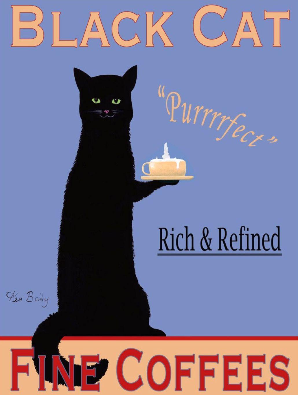 Black Cat Fine Coffees Plakaty Vintage Plakat Akwarele Sztuka