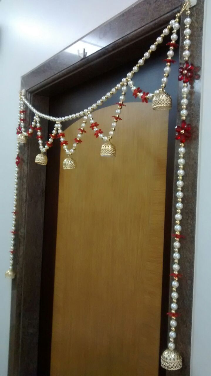 Pearl Toran With Led Battery Operated Light Strings Of