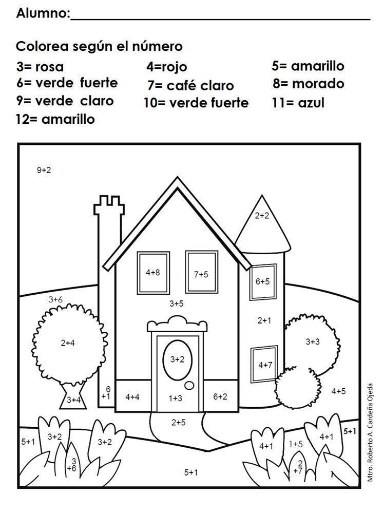 Matemáticas, sumas, dibujos para pintar con sumas | Operacions sumes ...