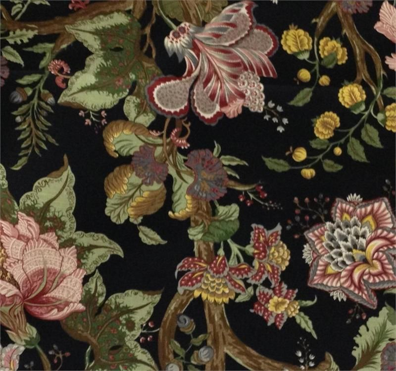 Home Decor Fabric Black Background With Multi Colors Floral Home Decorating Fabric