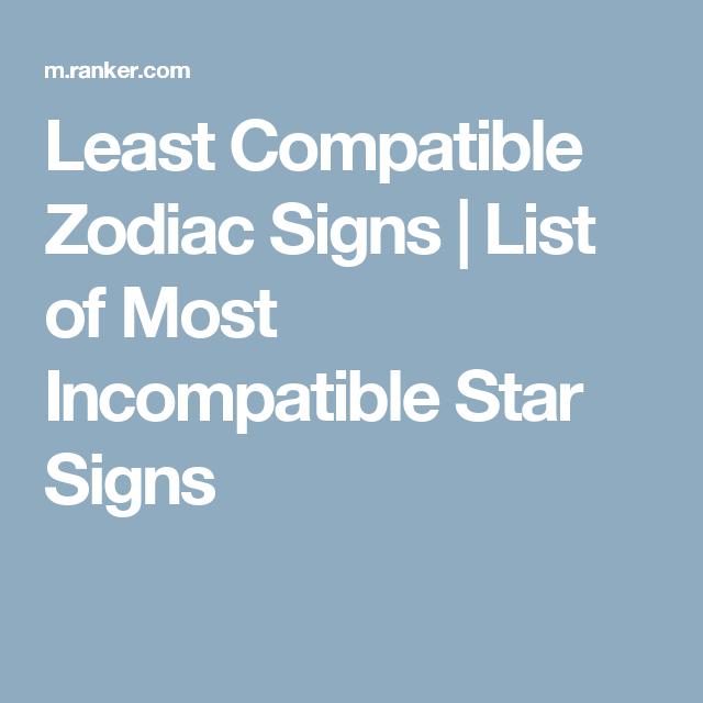 least compatible zodiac signs
