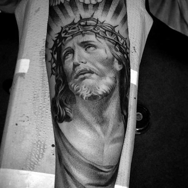 322375e0a 100 Jesus Tattoos For Men - Cool Savior Ink Design Ideas | Rosary ...