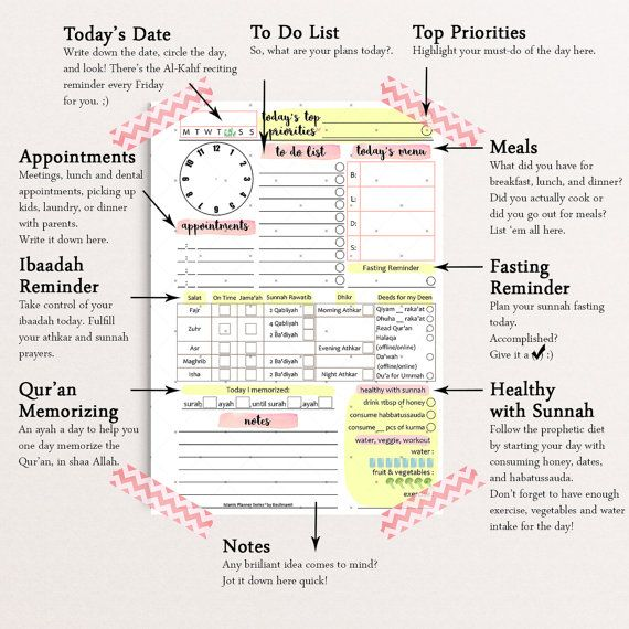 Islamic DAILY PLANNER by Kecilmamil (A5 Size - PRINTABLE - Instant