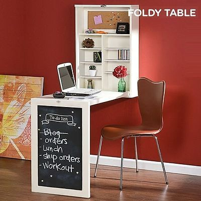 Wall Mounted Foldable Table Wooden Folding Desk With Several Shelves,  Blackboard