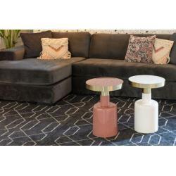 Photo of Table d'appoint Glam en fer et acier bleu Ø 36 cm par Zuiver Flamingo Royale