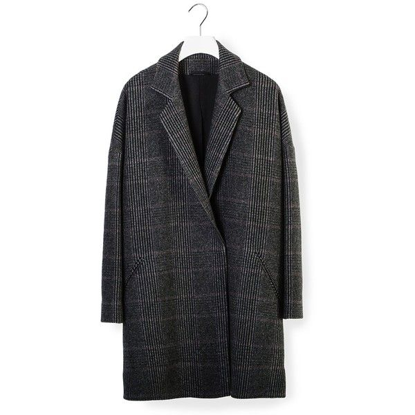 32 PARADIS POUR SPRUNG FRÉRES Kyo Coat (€1.736) ❤ liked on Polyvore featuring outerwear, coats, grey oversized coat, tartan coat, plaid coat, oversized coat et grey coat