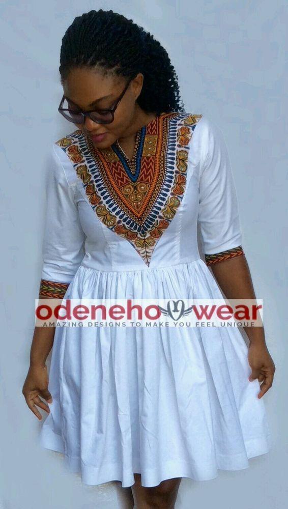 53cb962e8a9 Odeneho Wear Ladies White Polished Cotton  Dashiki Dress. African Clothing.