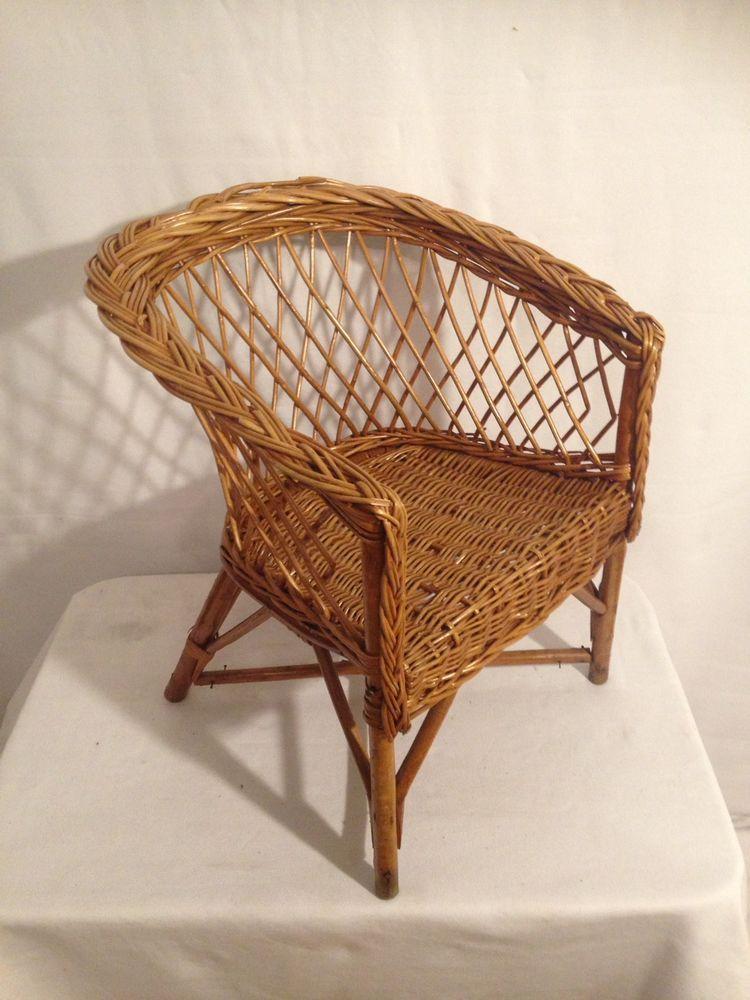 Fauteuil Ancien Chaise Enfant Annee 60 Rotin Tresse Vintage Dans Son Jus Chaise Enfant Fauteuil Ancien Fauteuil Osier