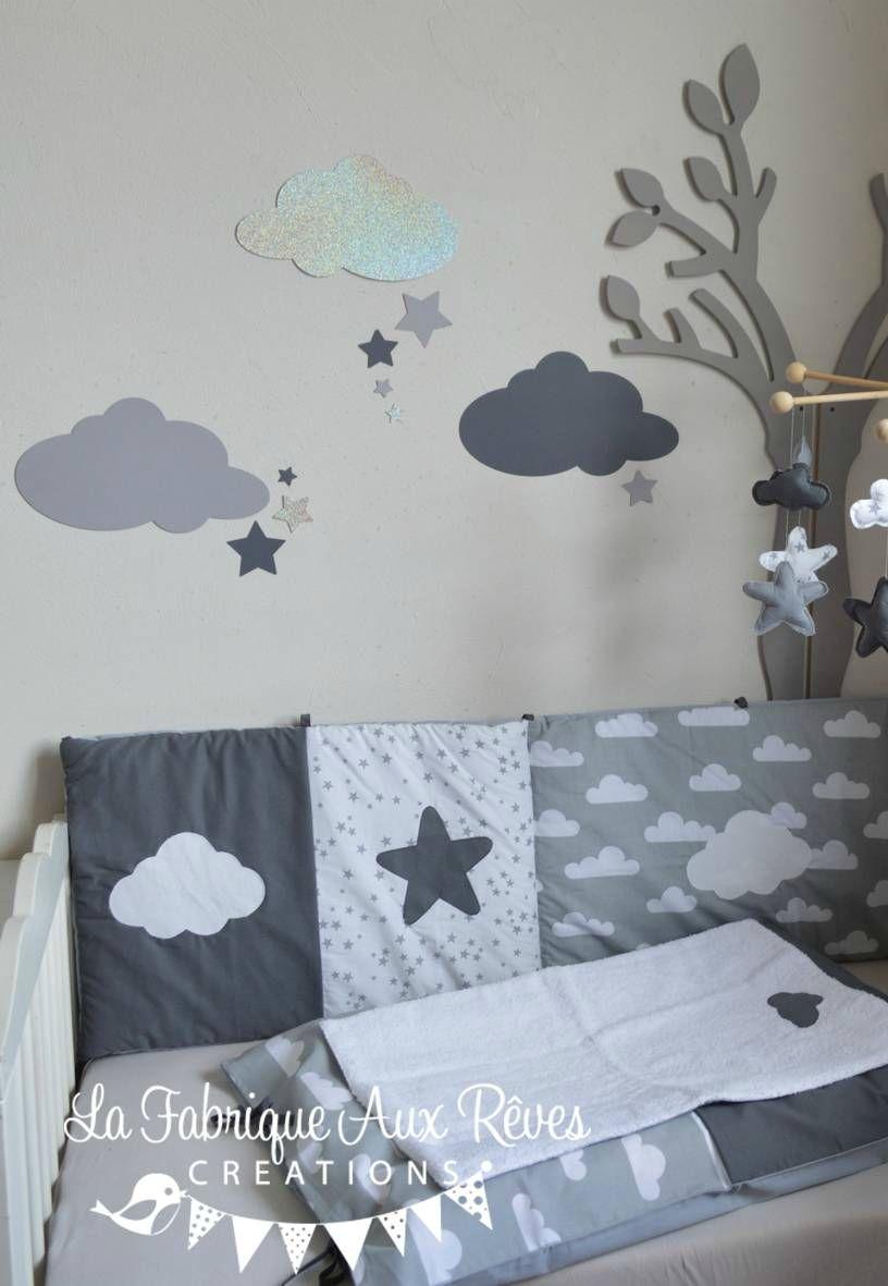 Stickers nuages étoiles gris foncé argent gris clair - décoration ...