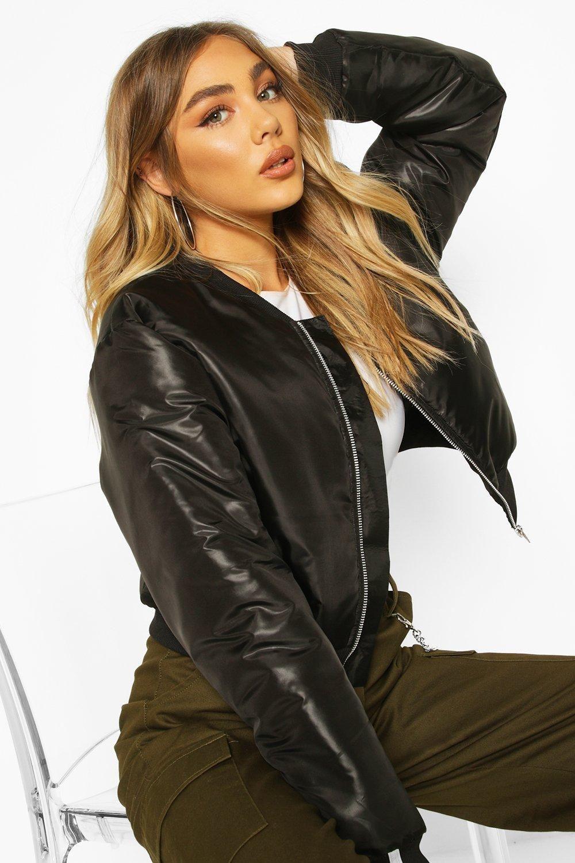 Womens Zip Through Cropped Bomber Jacket Black 8 Black Find Fashion Cropped Bomber Jacket Leather Bomber Jacket Women Black Bomber Jacket Women [ jpg ]