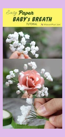 Super Simple And Realistic To Make Baby Breath Paper Flower