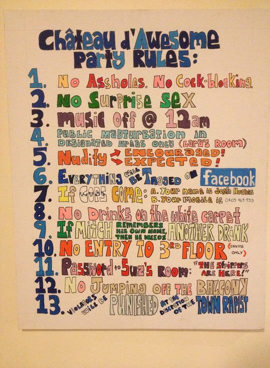 Awesome Party Rules Party Rules House Party Rules Party Funny