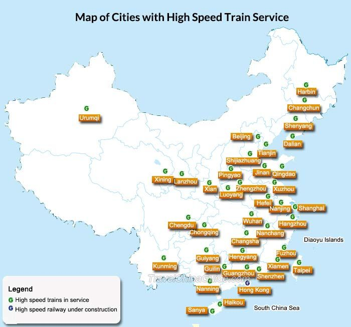 Map of china cities with high speed train service china travel map of china cities with high speed train service gumiabroncs Choice Image