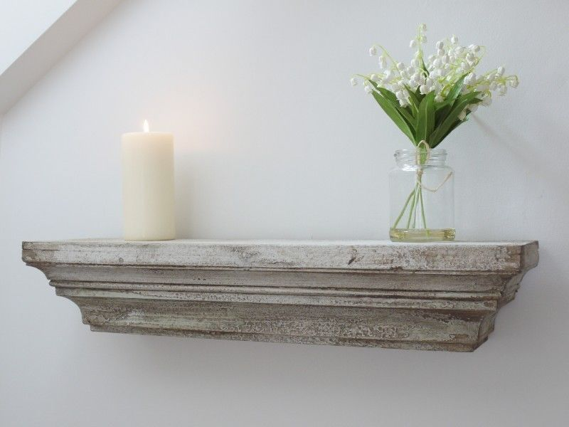 Shabby Chic Vintage Style Off White Wall Mounted Wooden Floating Shelf Ebay