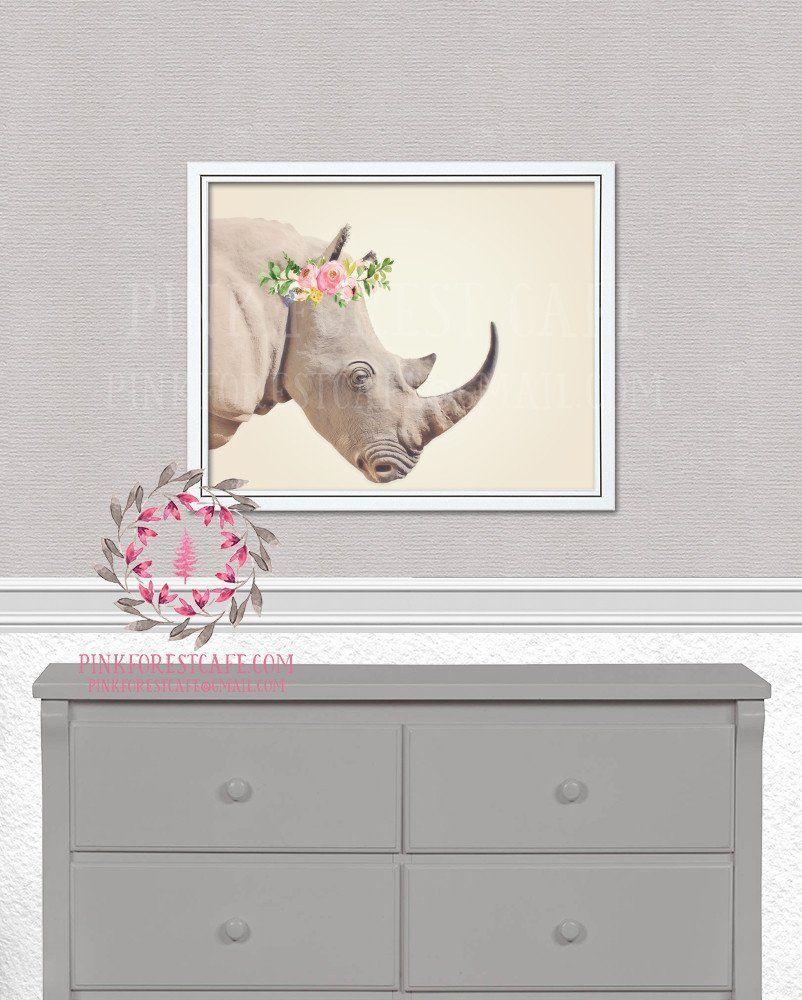 Boho rhino safari kids girl nursery baby room printable print wall