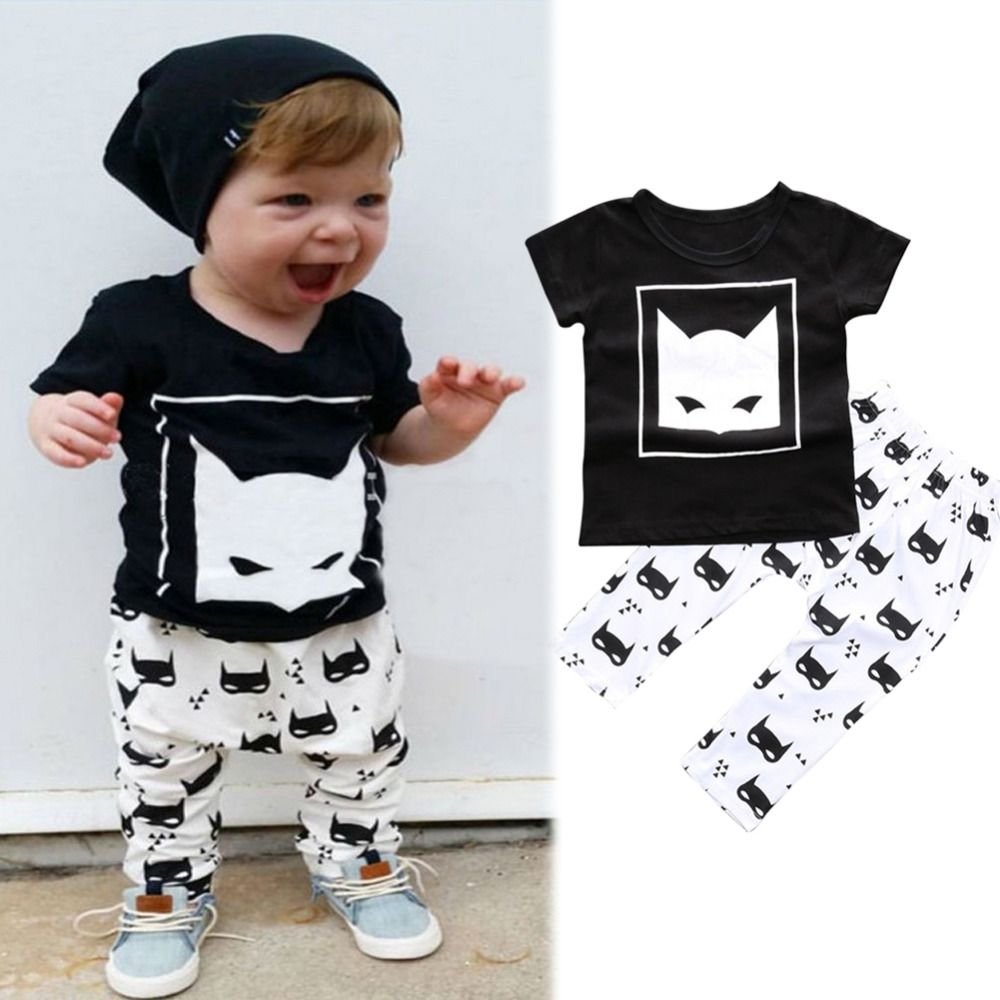 246982711b27 0-24M Baby boy clothes 2017 summer kids clothing sets o neck fox ...