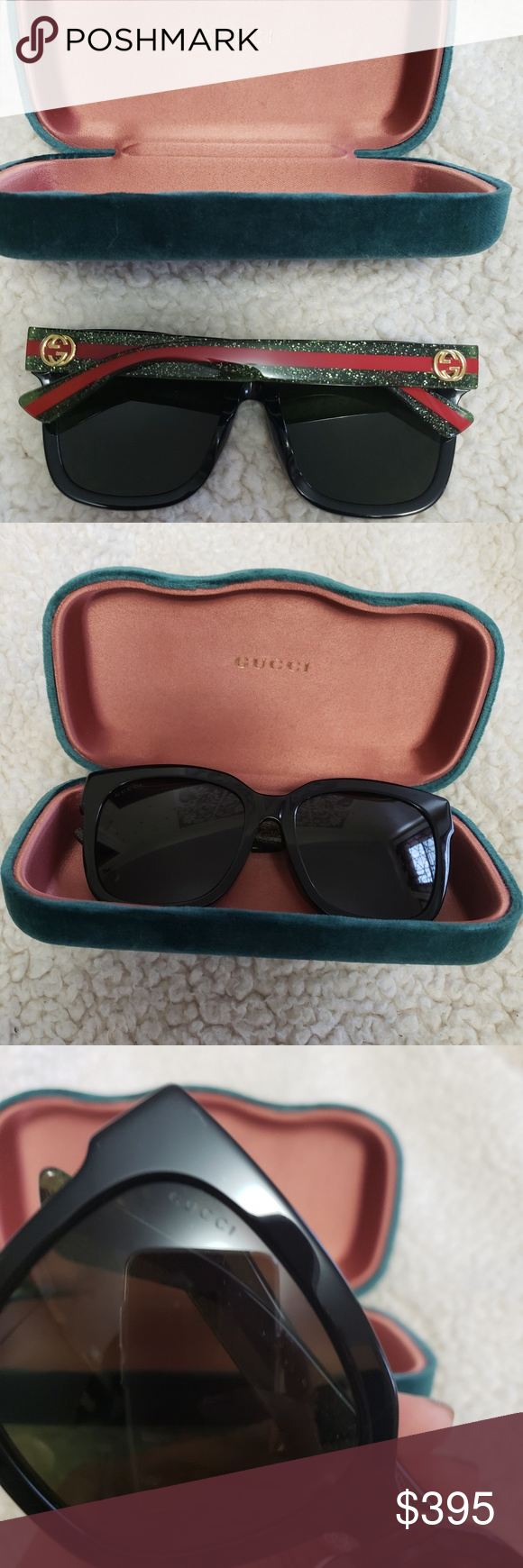 28f20c7360f 💥100% authentic Gucci round glitter sunglasses Black acetate frame Made in  Italy Frame height