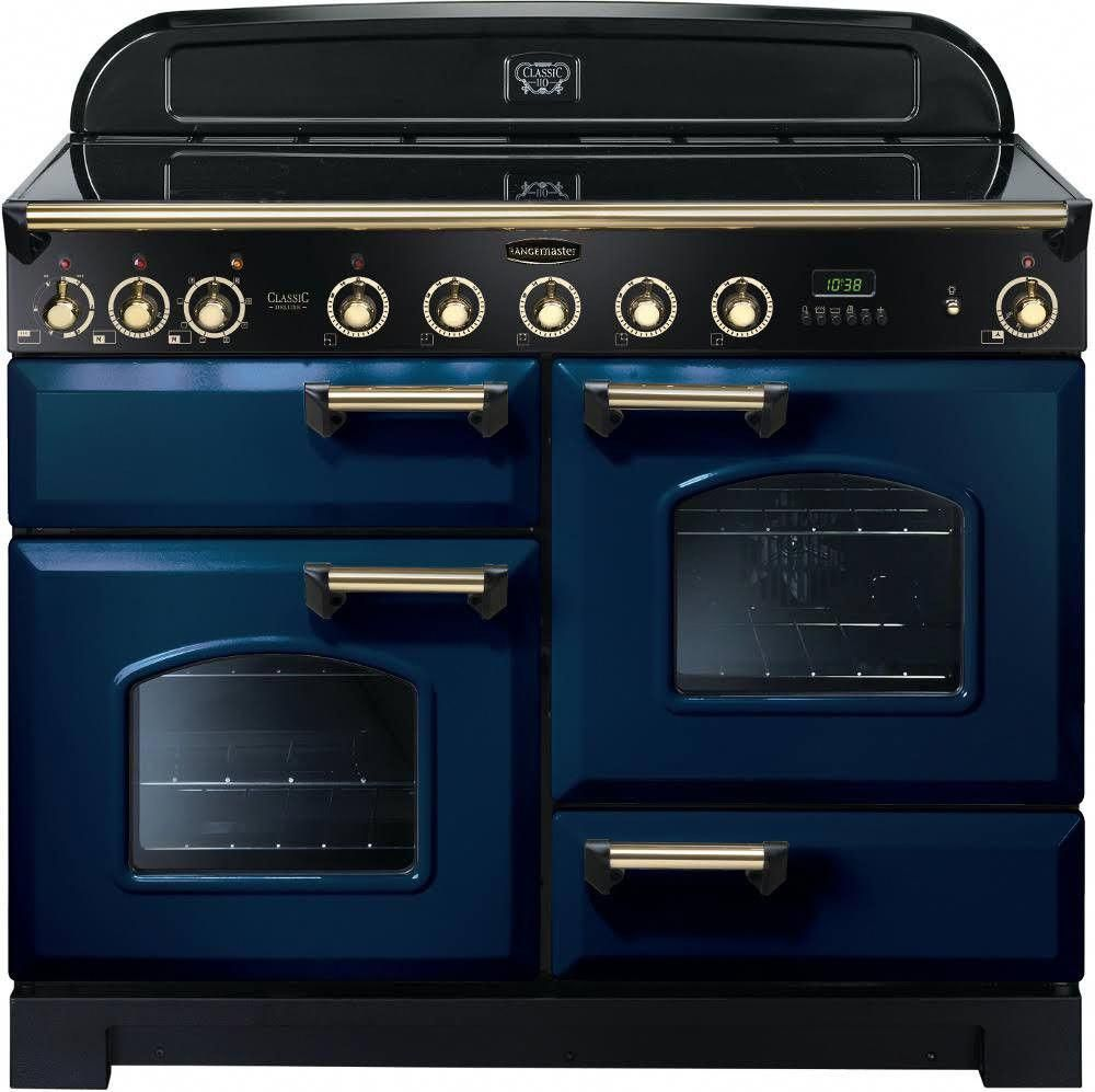 Rangemaster Classic Deluxe 110 Induction Range Cooker Regal Blue Brass Trim Cdl110eirb B 113100 Bluekitche In 2020 Induction Range Cooker Range Cooker Induction Range
