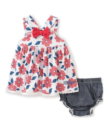 This White & Red Floral A-Line Dress & Bloomers - Infant is perfect! #zulilyfinds