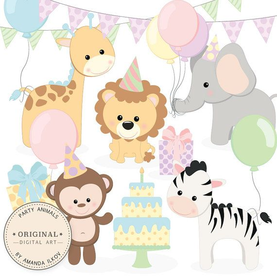 Professional Baby Birthday Party Animals Clipart Vector Set Etsy Baby Jungle Animals Animal Clipart Animals For Kids