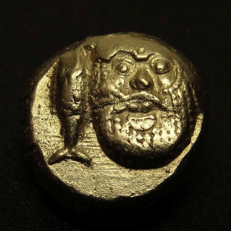 MYSIA Kyzikos. SILENOS WITH TUNA.v.RARE Ancient Greek Gold Coin.1/6 stater.Hecte