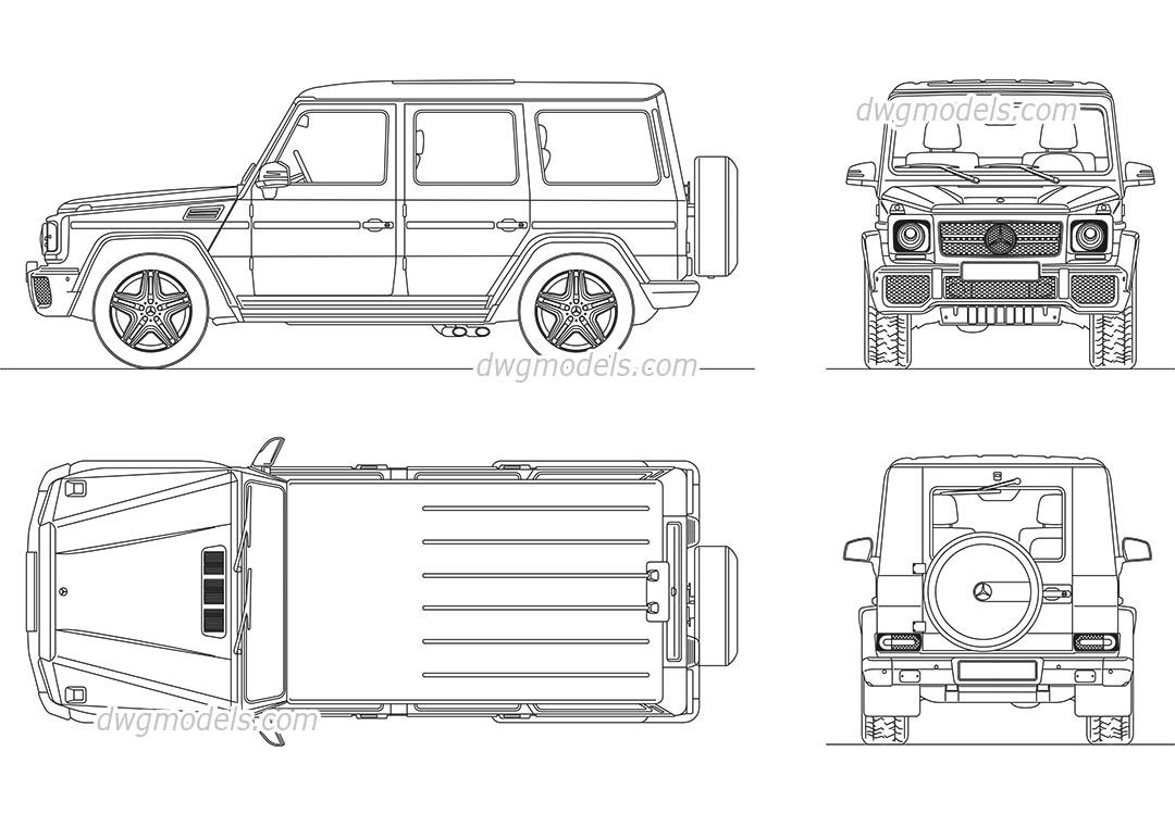 Mercedes benz g class cad blocks free dwg file cars for Cad car plan