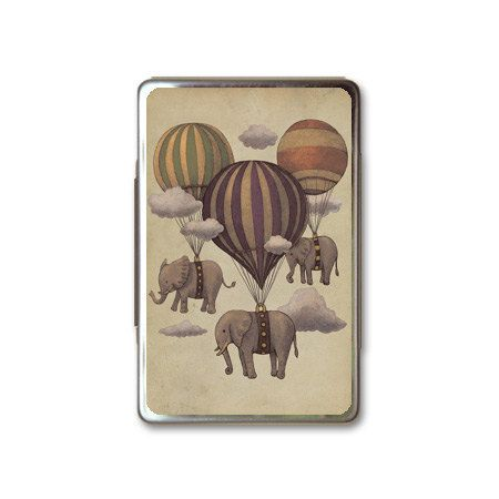 Vintage Elephant and Hot Air Balloons Metal Box Case by HiCoolCase