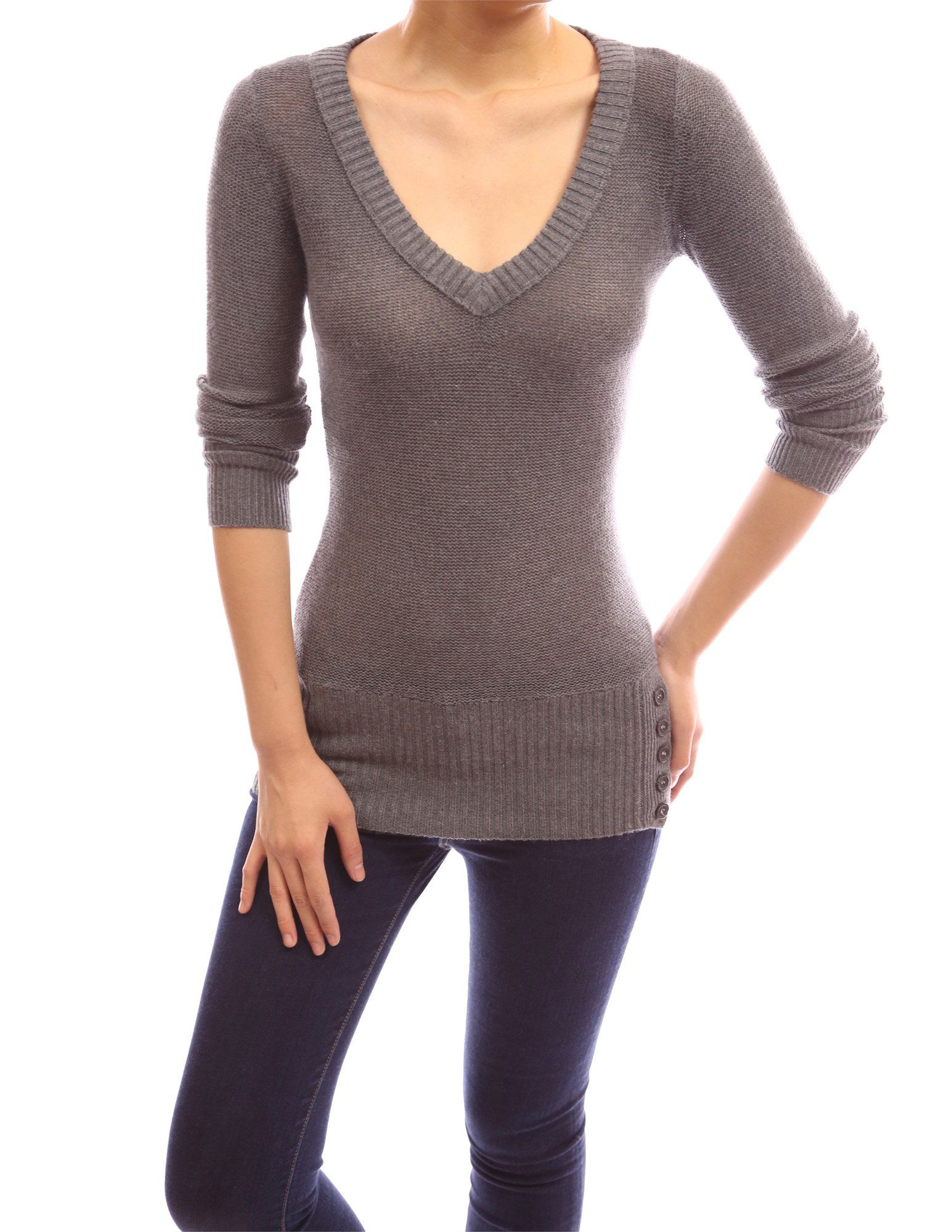 PattyBoutik V Neck Long Sleeve Ribbed Hem Button Detail Knitwear Tunic  Sweater at Amazon Women s Clothing store  927b28ddc