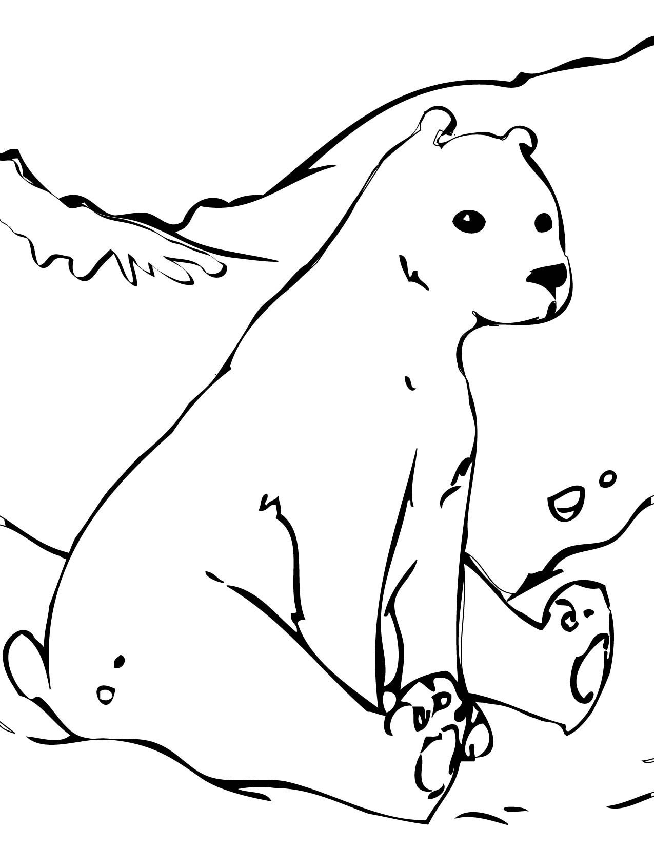 Polar Bear Coloring Page (bit of a dog\'s head, but the shape of the ...