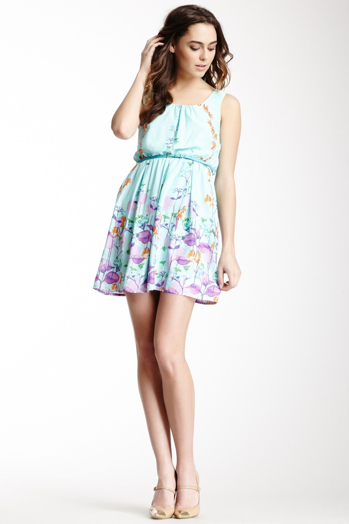 Spring into dresses pink owl belted print sleeveless dress