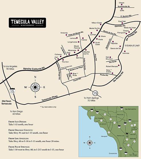 Temecula Valley Winery Map near San Diego CA Travel Pinterest