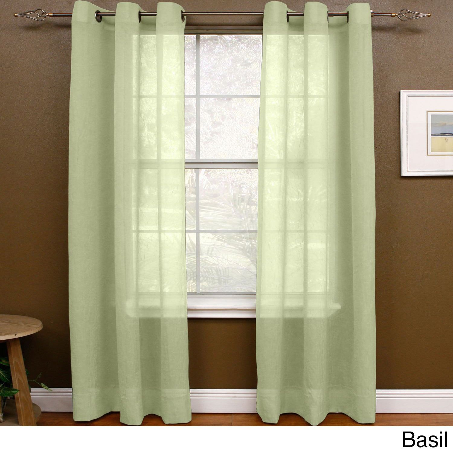 "Miller Curtains Preston 63-Inch Grommet Sheer Panel (48"" X 63"",Basil), Green, Size 63 Inches (Polyester, Solid)"