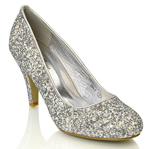 ESSEX GLAM Womens Bridal wedding Low Heel Sparkly Prom Party Court Shoes  9328TG7EZ