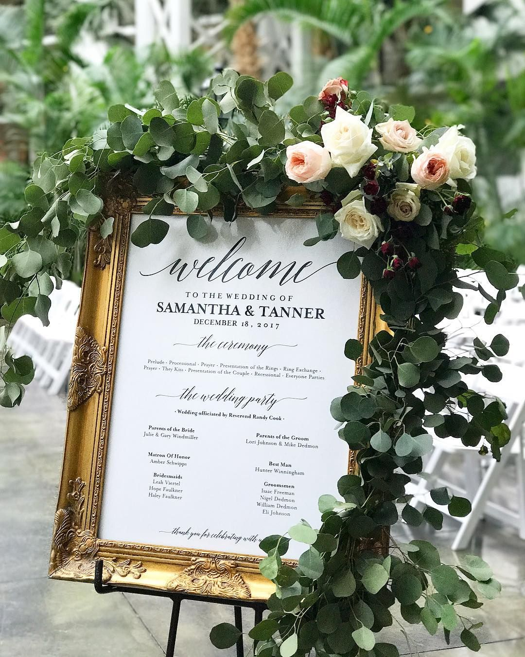 Lush and wild welcome sign garland of silver dollar eucalyptus with ...