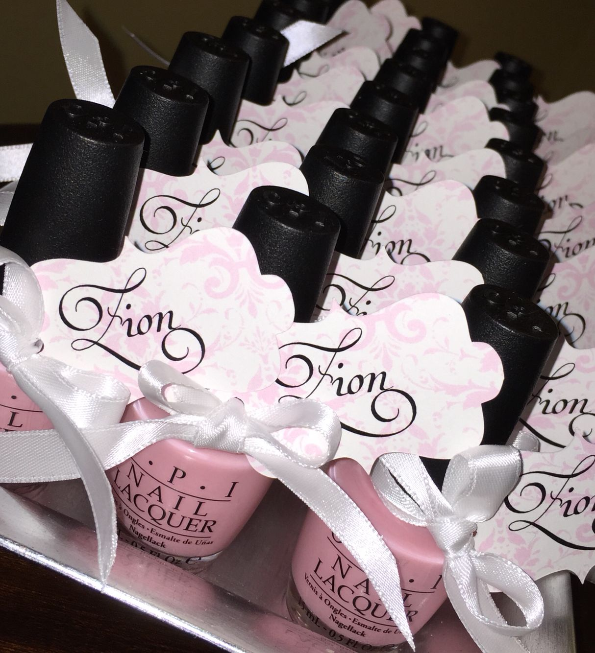 My baby shower favors. It's a girl OPI nail polish color