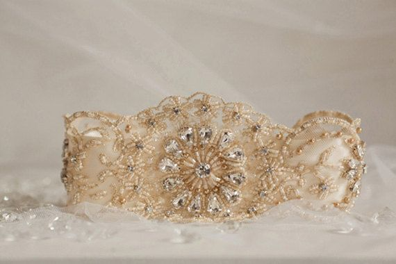 The perfect vintage inspired garter! Fully beaded lace placed on delicate silk. #mamieandjames #garters #brides