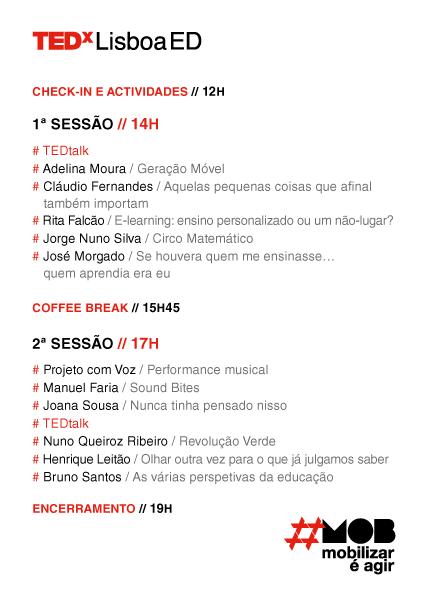 O programa do TEDxLisboaED já se encontra disponível! Entre as 12h e as 14h faça o seu check-in e usufrua das surpresas que temos reservadas para si.  #tedxlisboa #tedxlisboaed #mob #lisboa