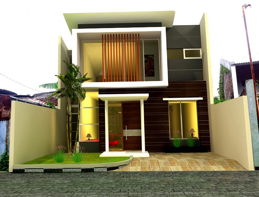 Dua lantai gaya kontemporer keren rumah minimalis fasad for Design interior minimalis modern