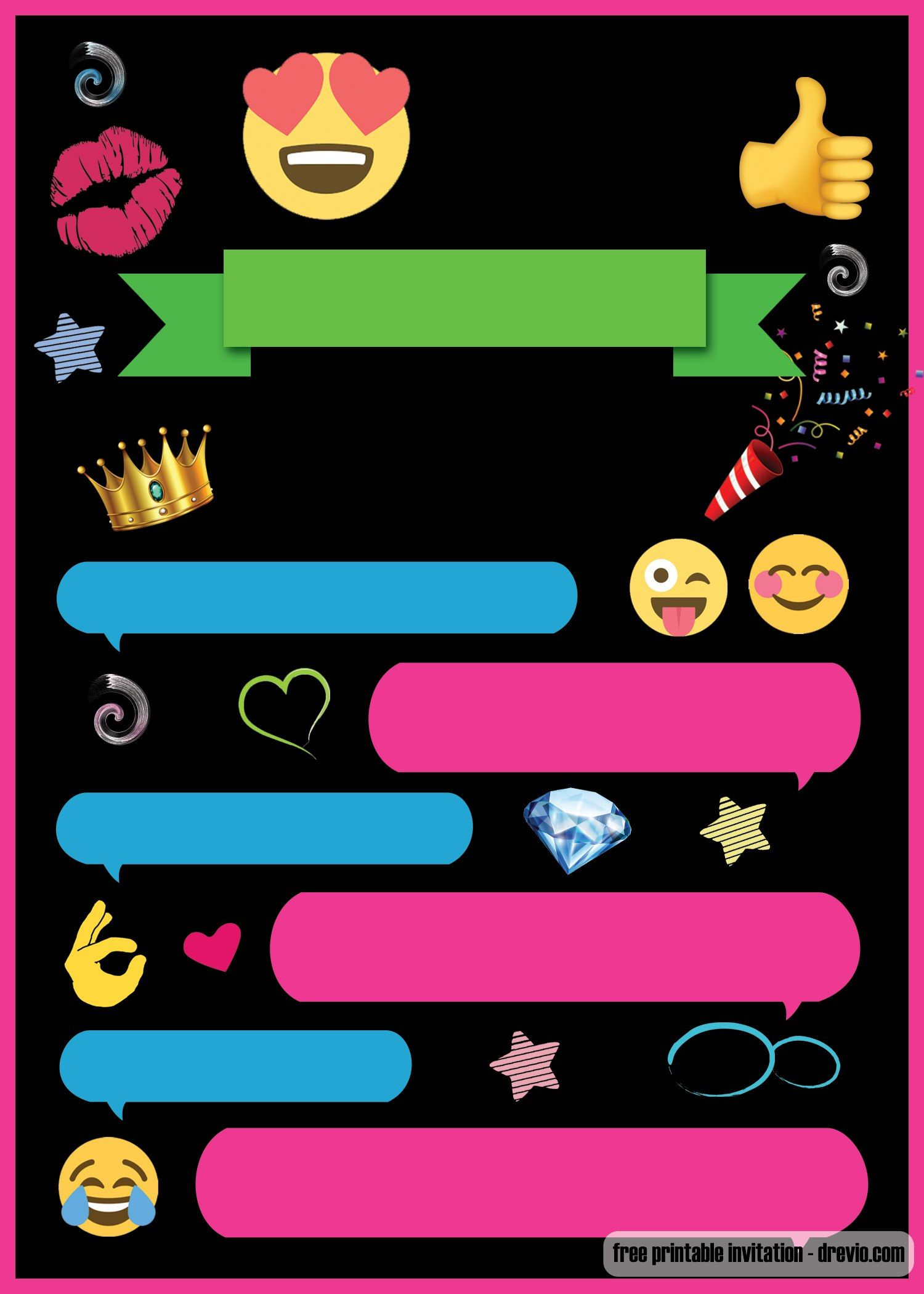 image relating to Free Printable Emoji B Day Invites identified as Absolutely free Printable Emoji Speak Invitation Template q bash