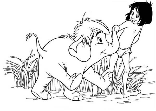 The Jungle Book Hathi Jr Be Friend With Mowgli In Coloring