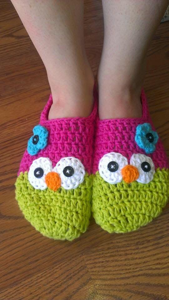 Crochet Owl Mary Jane Slippers Pattern