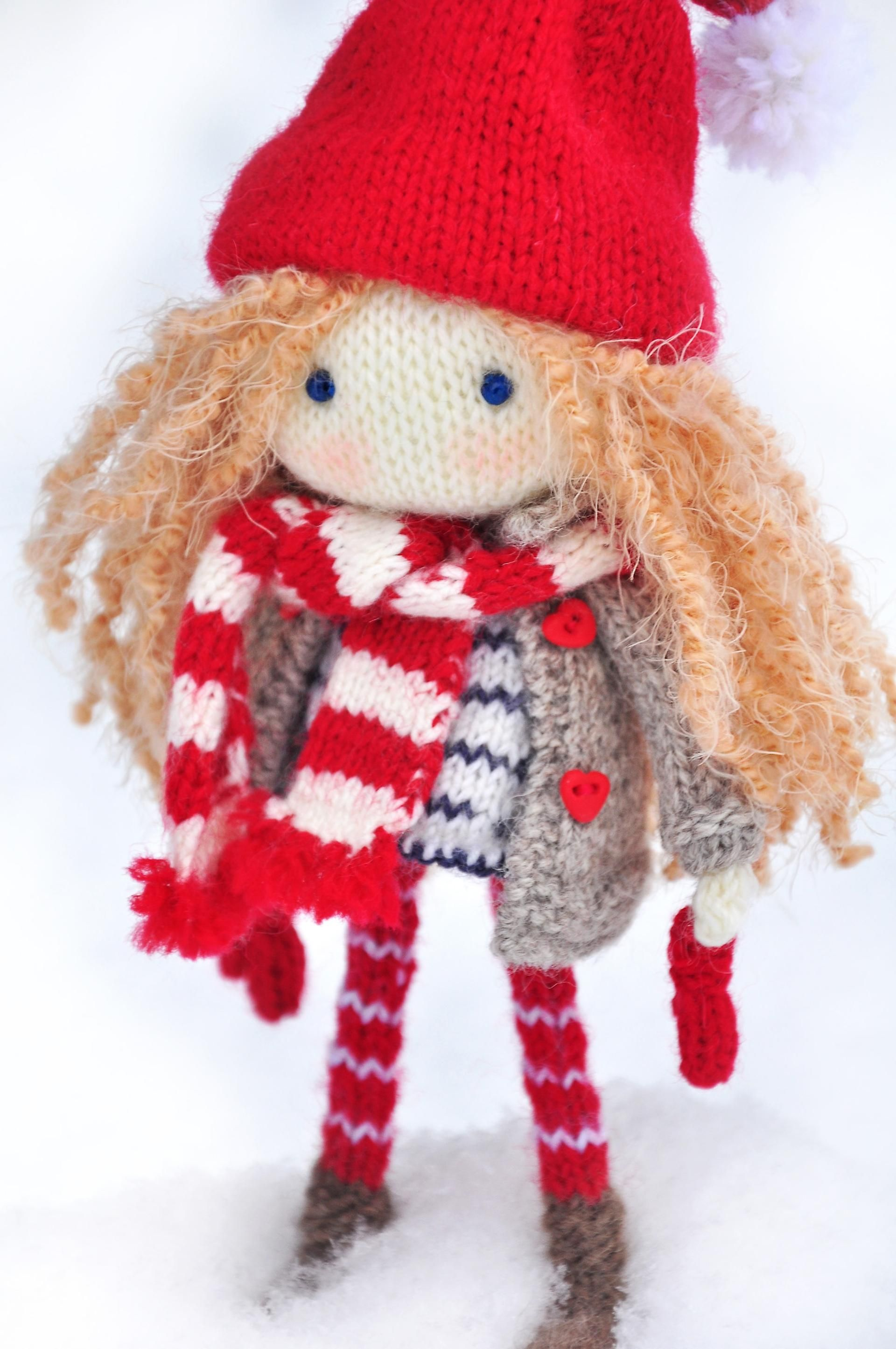 Doll knitting pattern-Christmas elf doll Nicole | Christmas elf doll ...